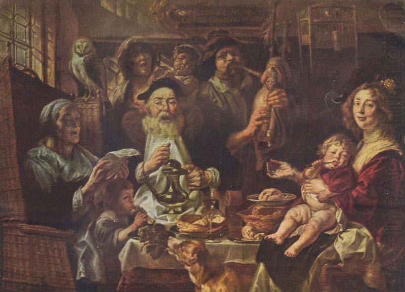 Jacob Jordaens, As the Old Sang, So the young Pipe., Jacob Jordaens