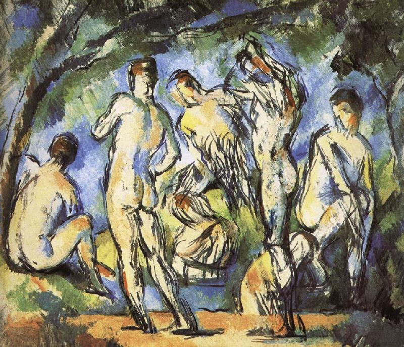 were seven men and Bath, Paul Cezanne