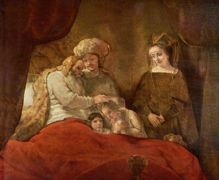 Jacob blessing Joseph second son,, REMBRANDT Harmenszoon van Rijn