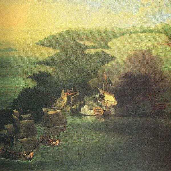 Admiral Vernon capture of Porto Bello in 1739., Samuel Scott