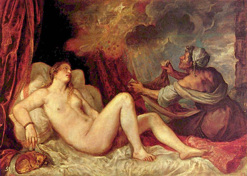 Titian unmatched handling of color is exemplified by his Danae,, Titian