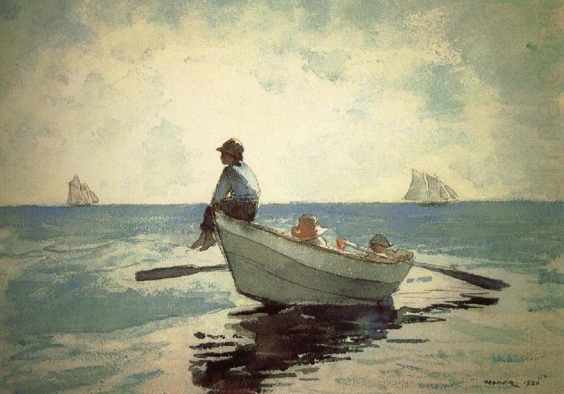 Small fishing boats on the boy winslow homer wholesale oil for Fishing boat painting