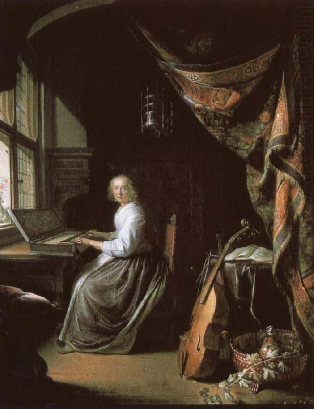 a 17th century dutch painting by gerrit dou of woman at the clvichord., christian schubart