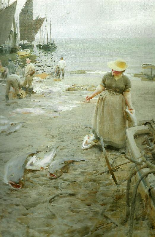 fiskmarknad i st. ives, Anders Zorn