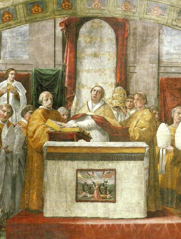 oath of pope leo 111fresco detail, Raphael