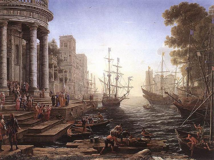 Port Scene with the Embarkation of St Ursula, Claude Lorrain