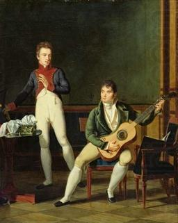 Musician and his family, French school