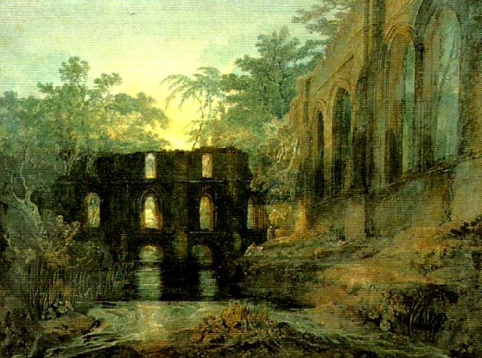 the dormitorg and trancept of fountain's abbey-evening, J.M.W.Turner