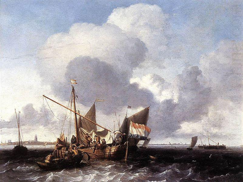 Ships on the Zuiderzee before the Fort of Naarden, Ludolf Bakhuizen