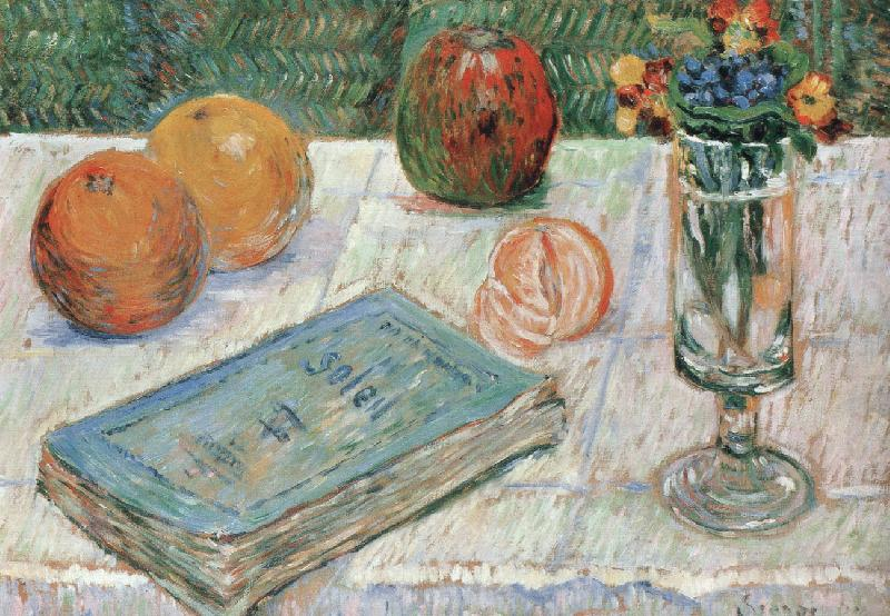 still life with a book and roanges, Paul Signac
