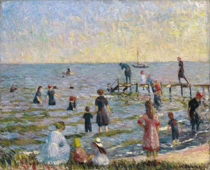 Bathing at Bellport, Long Island, William Glackens