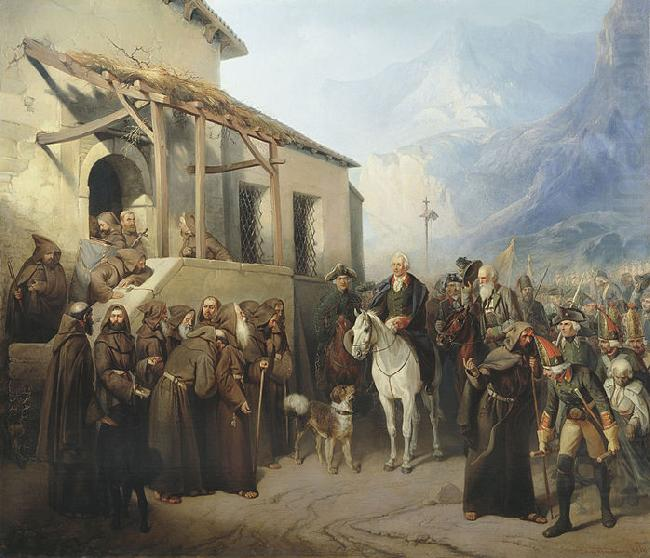 Creator:Adolf Charlemagne. Field Marshal Alexander Suvorov at the top of the St. Gotthard September 13