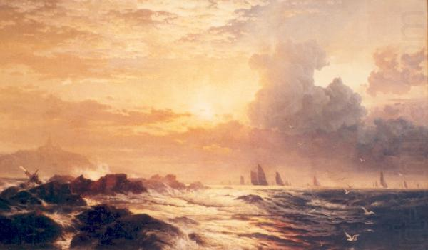 Yachting at Sunset, Edward Moran