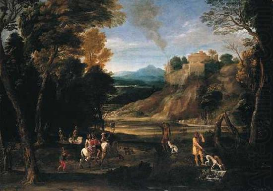 Landscape with a Hunting Party, Gian  Battista Viola