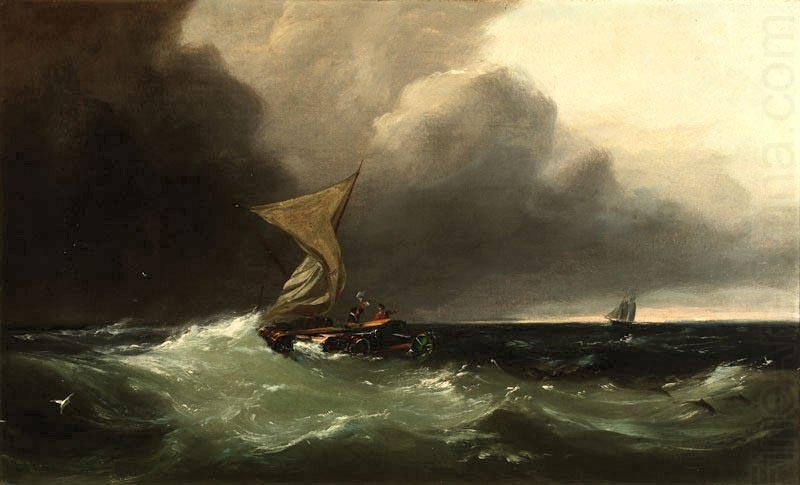 Shipwrecked figures signaling to a distant sailing ship, oil painting by Gideon Jacques Denny, Gideon Jacques Denny