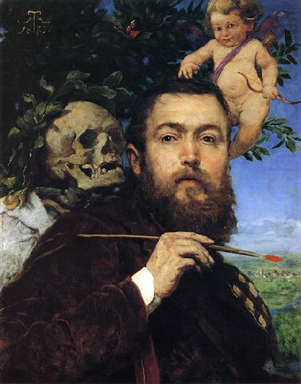 Hans Thoma Self-portrait with Love and Death