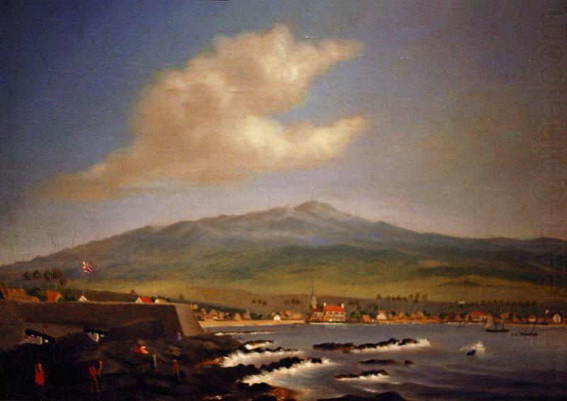 Kailua-Kona with Hualalai, Hulihee Palace and Church, James Gay Sawkins