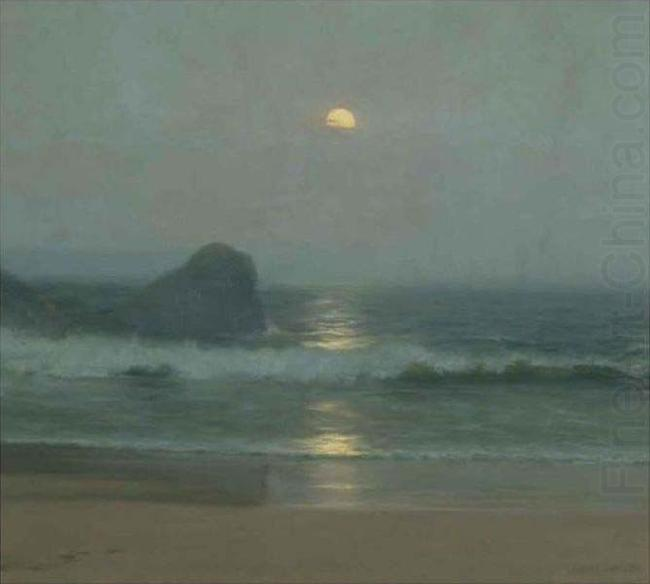 Moonlight Over the Coast, oil painting by Lionel Walden, Lionel Walden