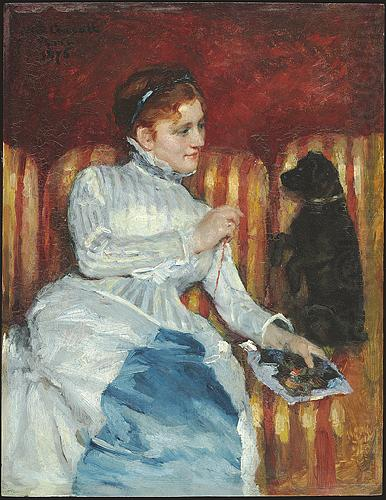 Woman on a Striped Sofa with a Dog, Mary Cassatt