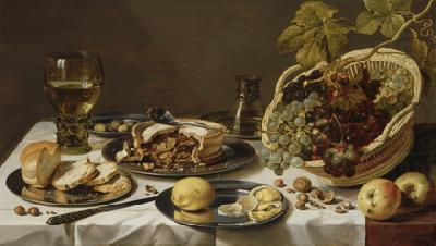 Tabletop Still Life with Mince Pie and Basket of Grapes, Pieter Claesz