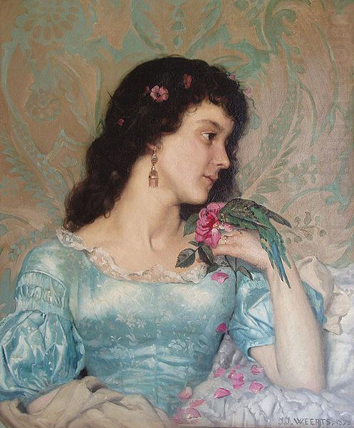 Beautiful pensive portrait of a young woman with a bird and flower, Weerts Jean Joseph