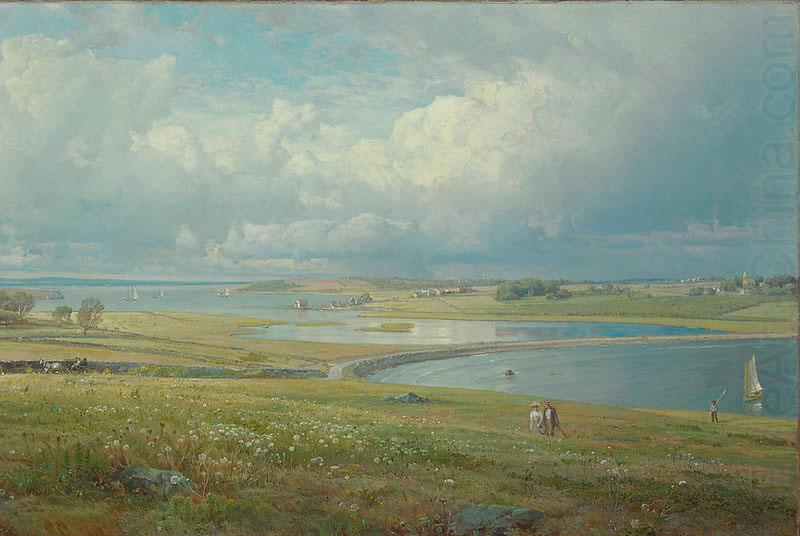 Mackerel Cove, Jamestown, Rhode Island, oil on canvas painting by William Trost Richards, laid down on masonite, William Trost Richards