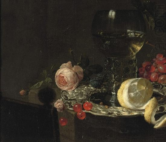 A 'Roemer' with white wine, a partially peeled lemon, cherries and other fruit on a silver plate with a rose and grapes on a stone ledge, simon luttichuys