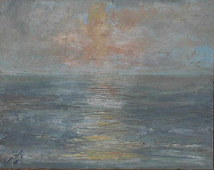 Sunset at sea, unknow artist