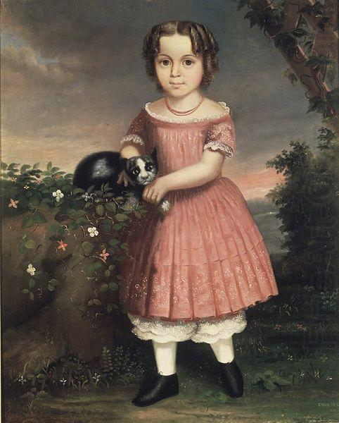 Portrait of a Child Holding a Cat, unknow artist