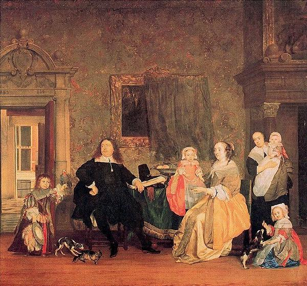 The family of Jan Jacobsz Hinlopen just before the youngest and his wife Leonora Huydecoper van Maarsseveen died, Gabriel Metsu