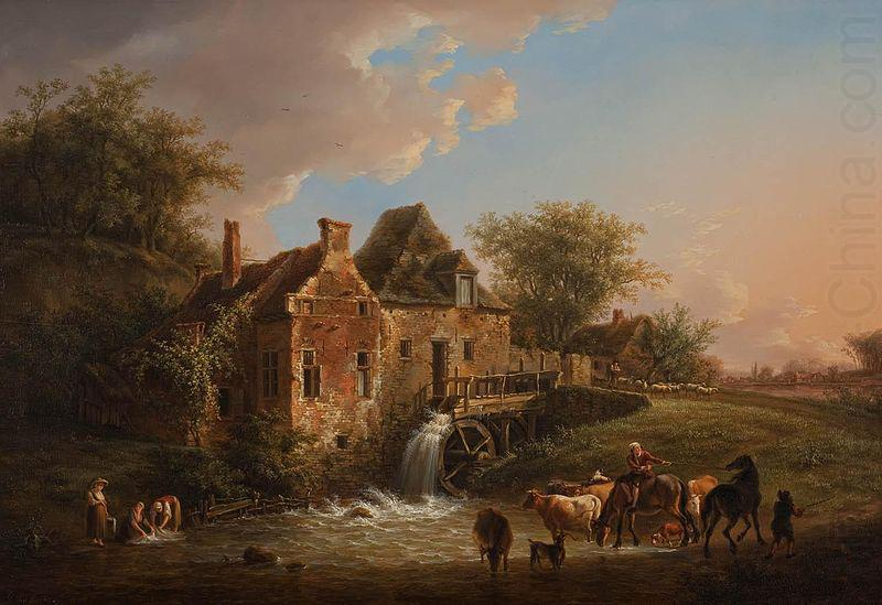 Landscape with waterfall and farm, Henri van Assche
