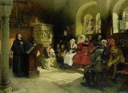 Martin Luther (1483-1546). German Reformer. Luther Preaching To ...