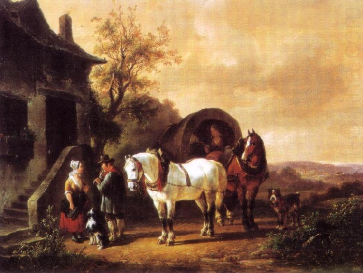 Waiting before the inn, Wouterus Verschuur