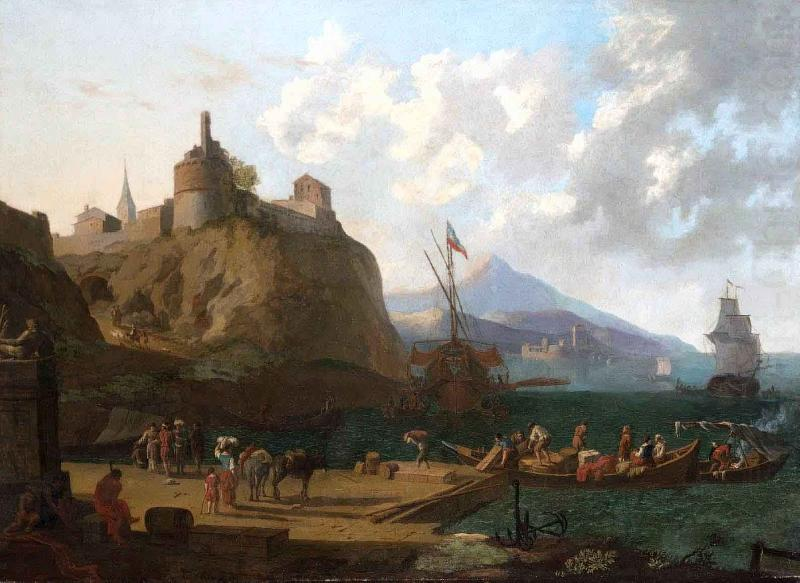 A  mediterranean harbour scene with numerous figures on a que beneath a fort, Adriaen Coorte