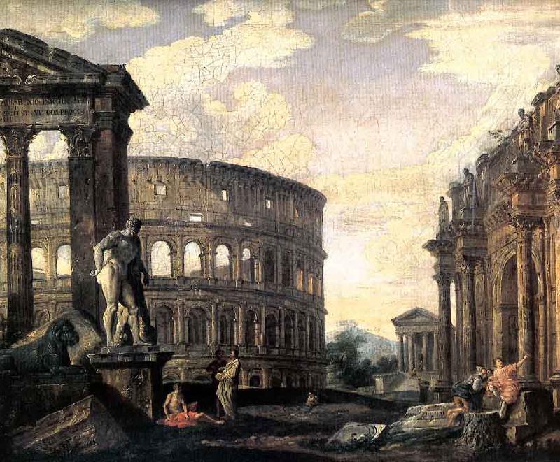Ancient Roman Ruins Giovanni Paolo Panini Wholesale Oil ...