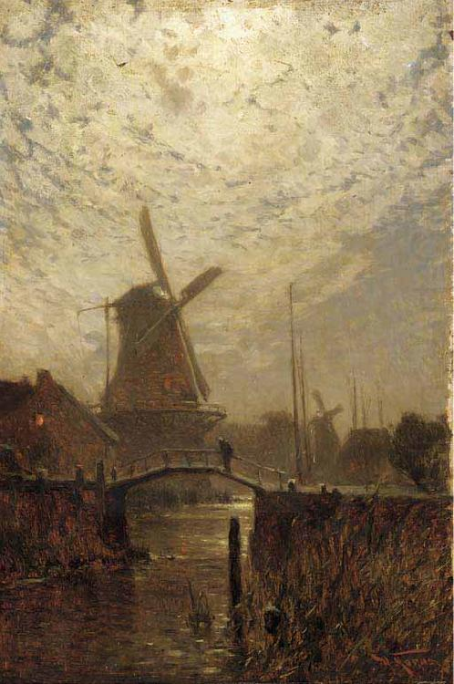 Walter Moras A figure crossing a bridge over a Dutch waterway by moonlight