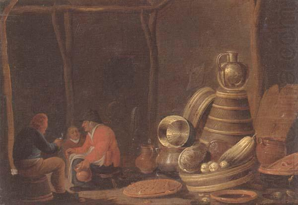 A barn interor with peasants drinking and smoking beside a collection of kitchen utensils, Jan Spanjaert