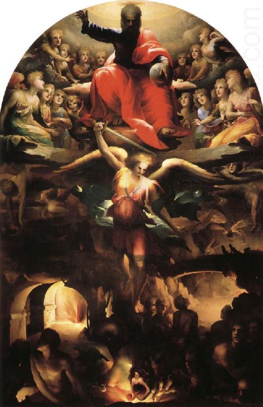 Domenico di Pace Beccafumi - Archanjel Michael odvádza vzbúrených anjelov z nebies