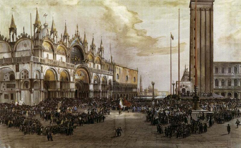 The People of Venice Raise the Tricolor in Saint Mark's Square, Luigi Querena