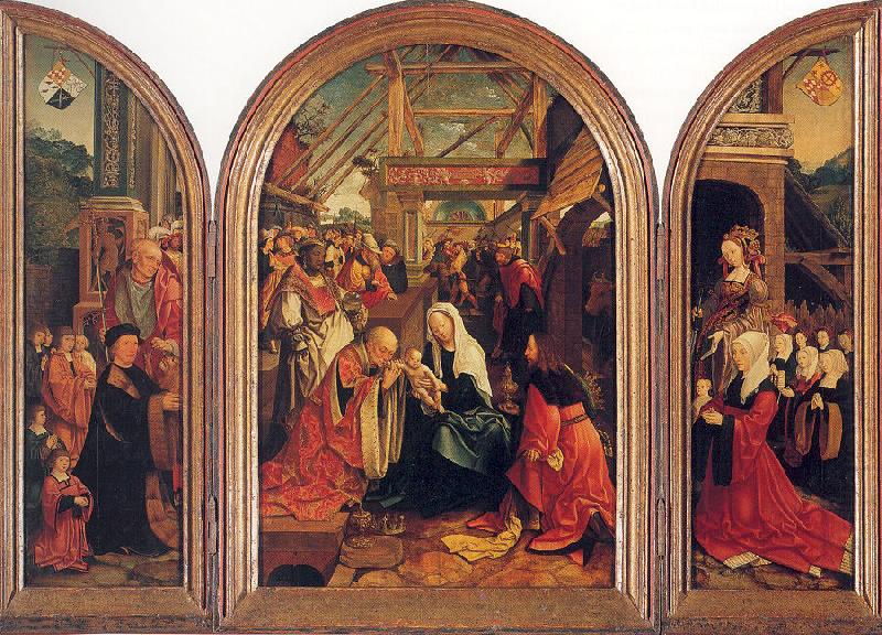 Tryptych with the Adoration of the Magi, Donors, and Saints, Oostsanen, Jacob Cornelisz van