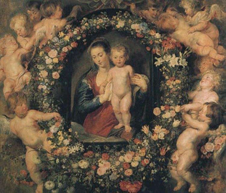 Madonna and Child with Garland of Flowers and Putti (mk01), Peter Paul Rubens