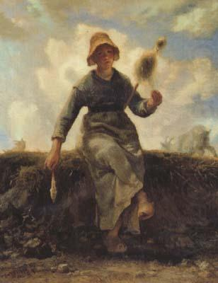 The Spinner,Goat-Girl from the Auvergne (san20), jean-francois millet