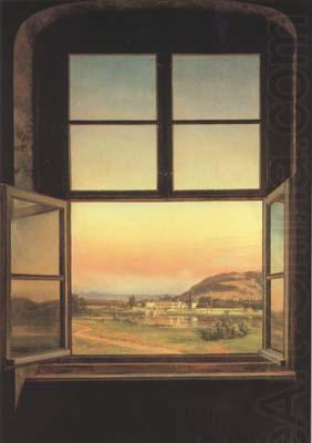 Window with a view of Pillnitz Castle (mk10), Johan Christian Dahl