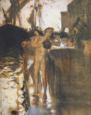 Two Nude Bathers Standing on a Wharf (mk18), John Singer Sargent