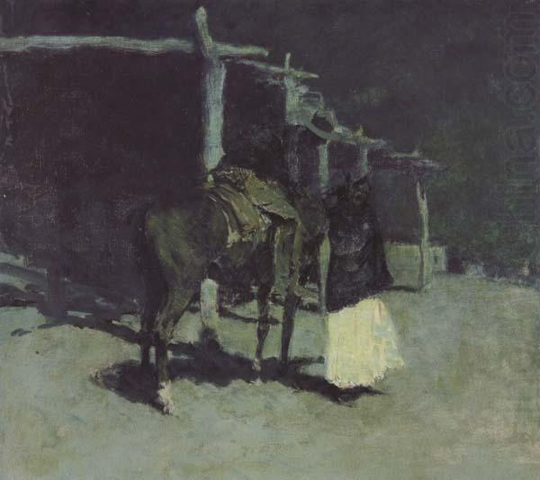 Waiting in the Moonlight (mk43), Frederic Remington