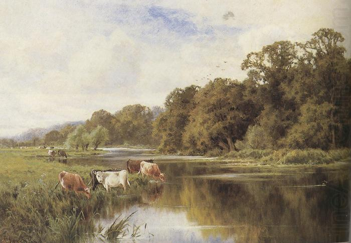 Cattle Watering On A Riverbank Mk37 Henry H Parker