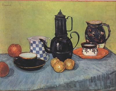Still life Blue Enamel Coffeepot Earthenware and Fruit (nn04), Vincent Van Gogh