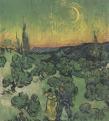 Landscape with Couple Walking and Crescent Moon (nn04), Vincent Van Gogh