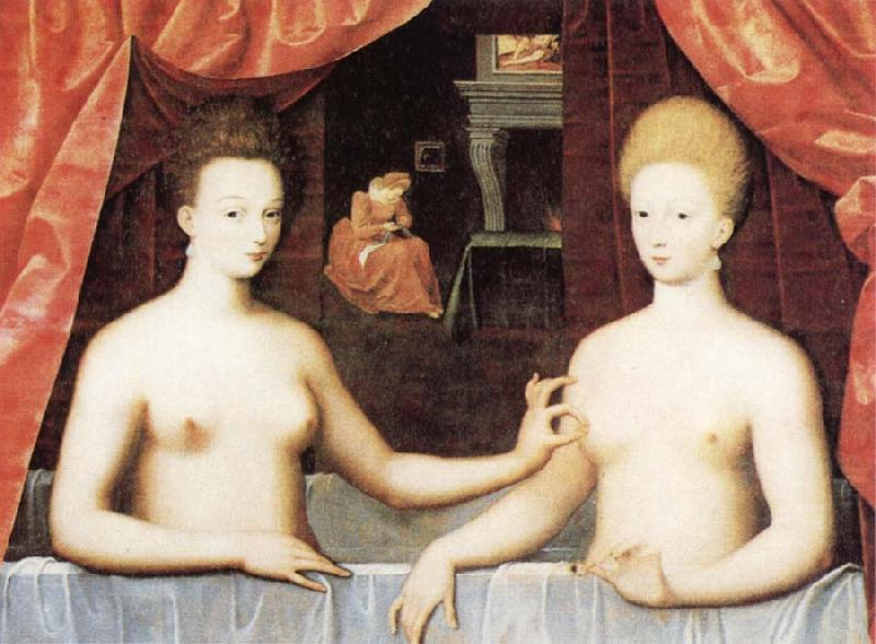 Gabrielle d'Estrees and One of he Sisters in the Bath, School of Fontainebleau